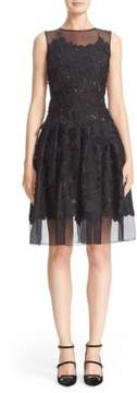Carmen Marc Valvo Couture Floral Applique Sleeveless Organza Dress