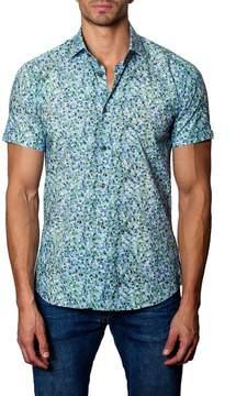 Jared Lang Woven Dot Print Trim Fit Shirt