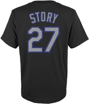 Majestic Boys 4-18 Colorado Rockies Trevor Story Player Name and Number Tee