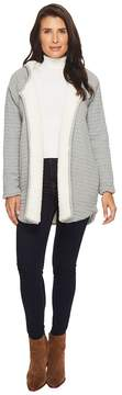 Mod-o-doc Signature Waffle Faux-Sherpa Lined Hooded Cardigan Women's Sweater