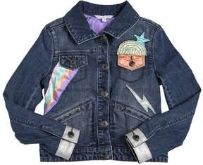Little Marc Jacobs Stretch Denim Jacket W/ Satin Patches