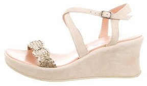 Stephane Kelian Suede Woven Wedge Sandals