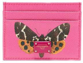 Dolce & Gabbana Butterfly Print Leather Cardholder - Womens - Pink Multi