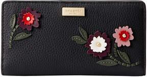 Kate Spade Black Embroidered Floral Laurel Way Stacy Leather Wallet