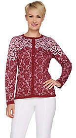 Bob Mackie Bob Mackie's Lace Print Long Sleeve Button Front Cardigan