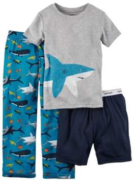 Carter's Boys 3pc Shark T-Shirt Shorts & Pants Pajama Set 4