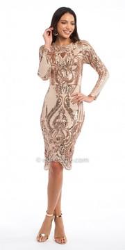 Camille La Vie Scallop Hem Sequin Long Sleeve Cocktail Dress