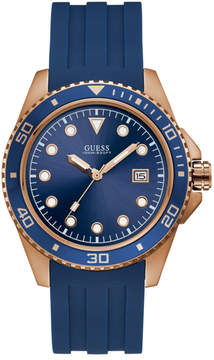 GUESS Rose Gold-Tone and Blue Analog Watch