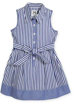 Milly Minis Sleeveless Striped Shirt Dress, Size 4-7