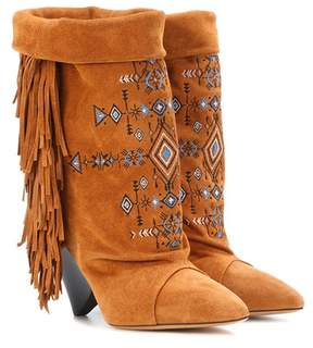 Isabel Marant Lesten embroidered suede boots