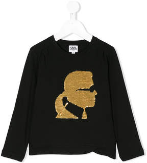 Karl Lagerfeld sequin graphic top