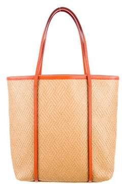 MZ Wallace Leather-Trimmed Straw Tote
