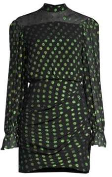 Saloni Rina Metallic Polka Dot Mini Sheath Dress