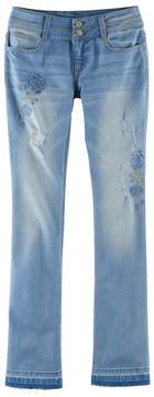 Mudd Girls Plus Size Embroidered Flower Ripped Double-Button Skinny Bootcut Jeans