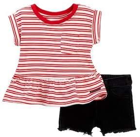 Hudson Striped Jersey Top & Shorts Set (Baby Girls)