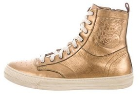 Burberry Metallic High-Top Sneakers