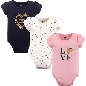 Hudson Baby Pink 'Love' Bodysuit Set - Newborn & Infant