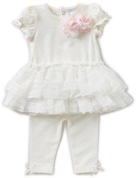 Edgehill Collection Baby Girls Newborn-6 Months Flower Tutu Top & Legging Set