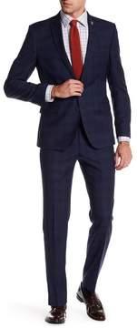 Nick Graham Plaid Two Button Notch Lapel Extra-Trim Fit Suit