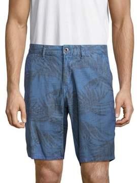 Original Paperbacks Leaf-Imprint Linen-Blend Shorts