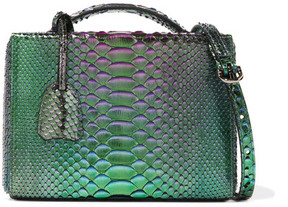 Mark Cross Grace Small Metallic Python Shoulder Bag - Green