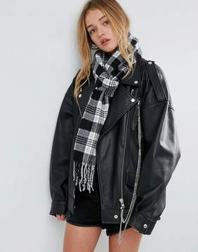 Asos Long Woven Mono Check Scarf With Tassels