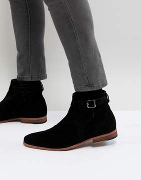 Asos Chelsea Boots In Black Suede With Strap Detail And Natural Sole