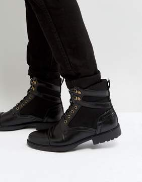 Asos Lace Up Boots In Black Faux Leather With Faux Suede Detail