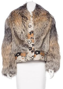 Creatures of the Wind Embroidered Fox Fur Jacket