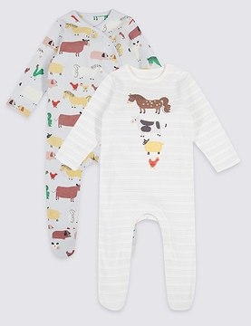 Marks and Spencer 2 Pack Pure Cotton Embroidered Sleepsuits