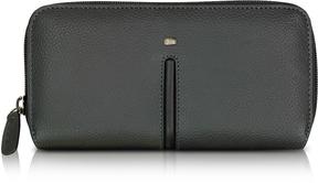 Giorgio Fedon 1919 Web Black Leather and Nylon Zip Around Women's Wallet