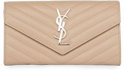 Saint Laurent Monogram Leather Medium Flap Continental Wallet - DARK BEIGE - STYLE