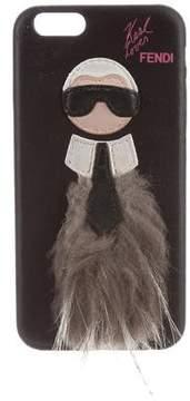Fendi Karlito Fur-Trimmed iPhone Case