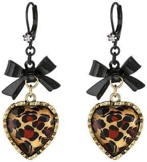 Betsey Johnson Euro Leopard Heart Black Bow Earring
