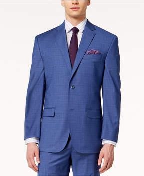 Sean John Men's Classic-Fit Stretch Blue Plaid Suit Jacket