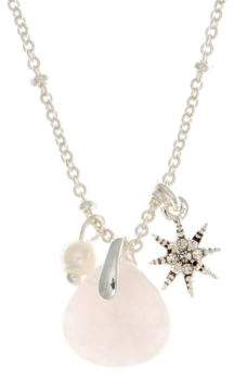 lonna & lilly 4MM Faux Pearl and Reconstituted January Birthstone Charm Necklace