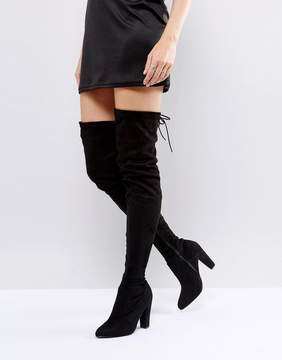 Public Desire Olivia Tie Back Heeled Thigh High Boots