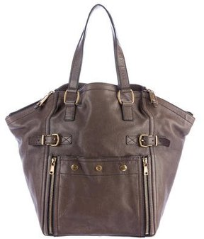 Saint Laurent Leather Downtown Tote - BROWN - STYLE