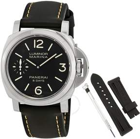 Panerai Luminor Marina Black Dial Black Leather Men's Watch