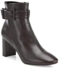 Aquatalia Vanie Buckle Leather Block Heel Booties
