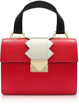 Emporio Armani Small Red Smooth Leather Top-handle Bag