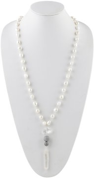 Barse Freshwater Pearl & Druzy Necklace