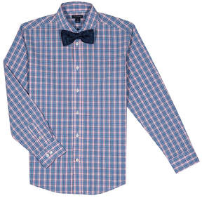 Tommy Hilfiger Light Pink & Blue Plaid Button-Up & Bow Tie - Boys