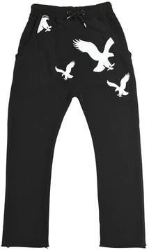 Fred Mello Eagles Print Cotton Sweatpants