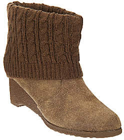 Muk Luks Wedge Heel Boot with Cable KnitFoldover Cuff