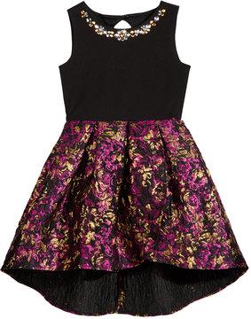 Blush by Us Angels Embellished-Neck Brocade Party Dress, Big Girls (7-16)