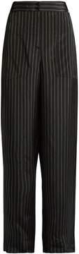 Tibi Striped wide-leg satin trousers