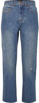 A.P.C. Standard Distressed High-rise Straight-leg Jeans - Mid denim