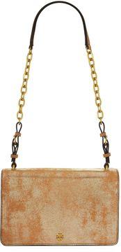 Tory Burch Metallic Sadie Shoulder Bag - BROWN - STYLE