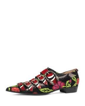 Gucci Susan Brocade Buckle Oxford, Black Floral